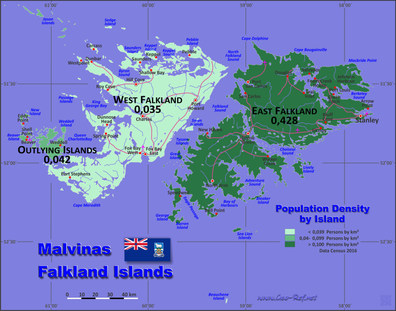 Falkland Islands Country data links and maps of the population