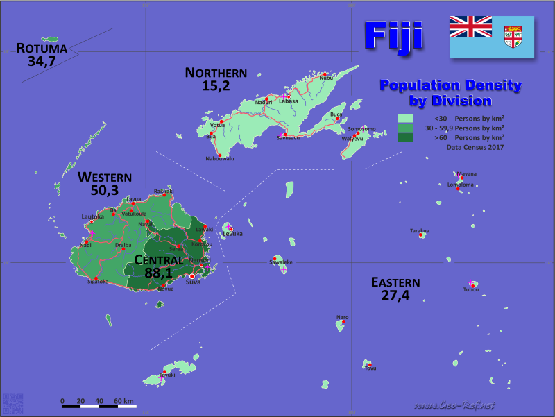 Map fiji popultion density by administrative division map fiji population density gumiabroncs Gallery