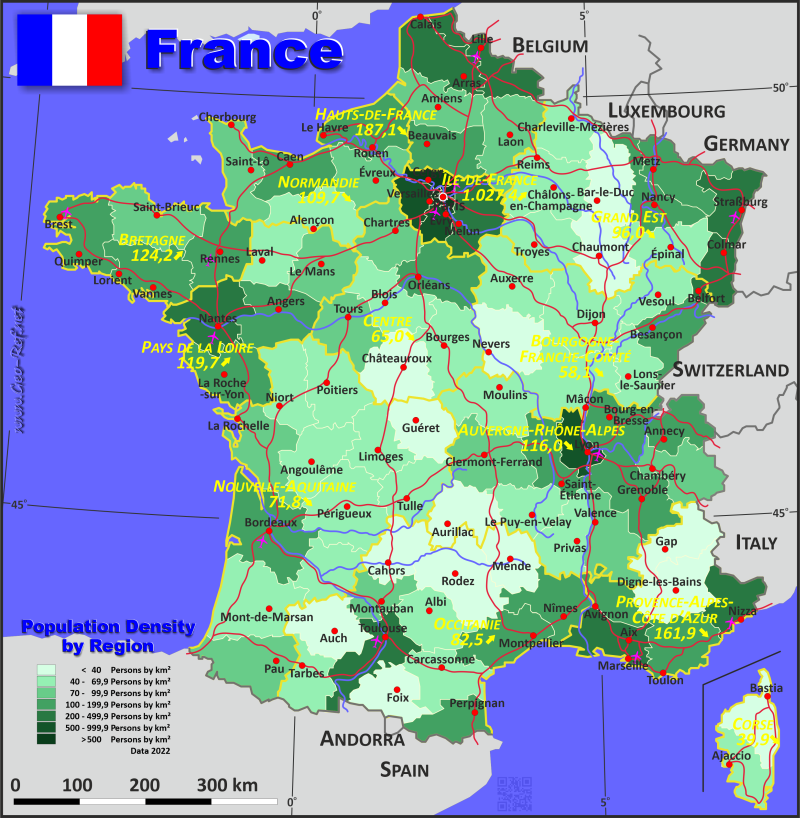 France Country data links and maps of the population density by