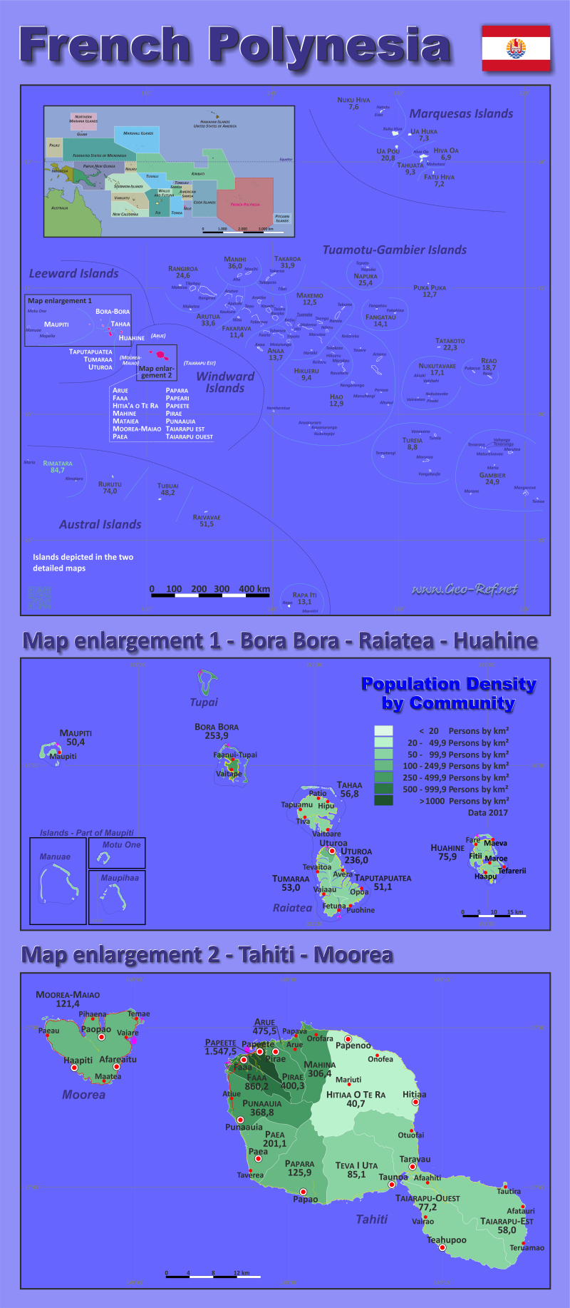 French Polynesia Country Part - 16: Map French Polynesia - Population Density