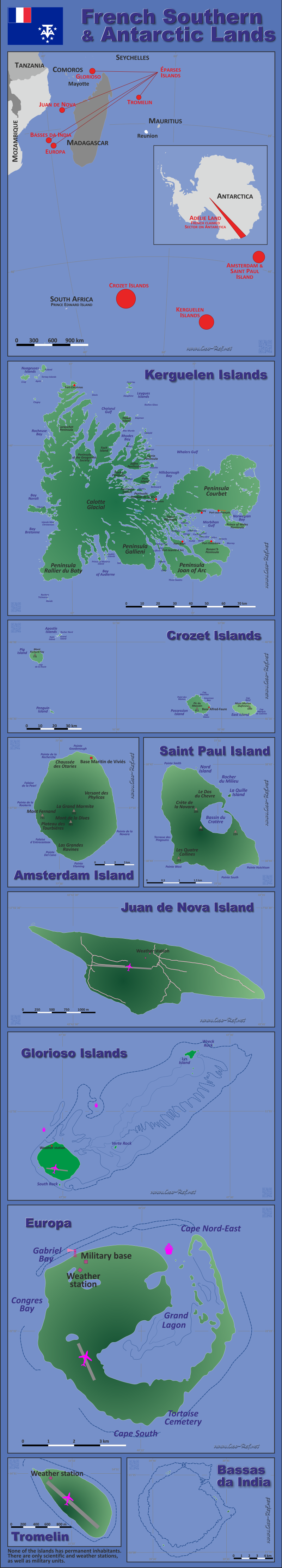 Map French Antarctic Lands - Population density