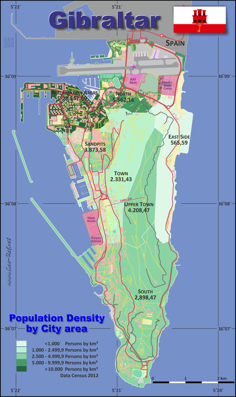 Map Gibraltar - Administrative division - Population density 2020