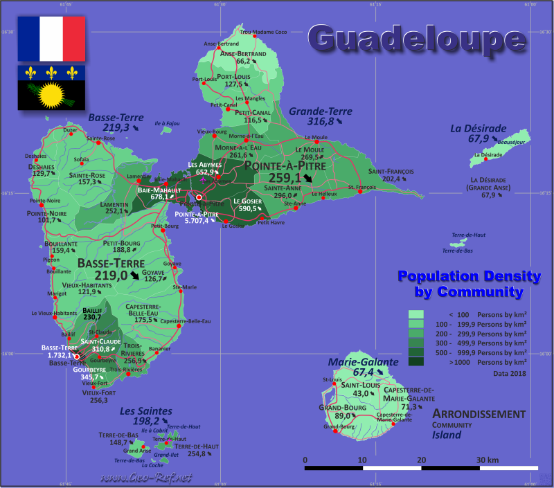 Map Guadeloupe - Administrative division - Population density 2017