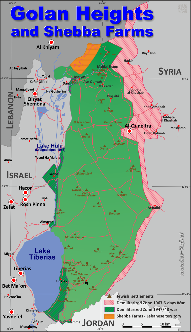 Map Golan Heights - Administrative division - Population density 2019