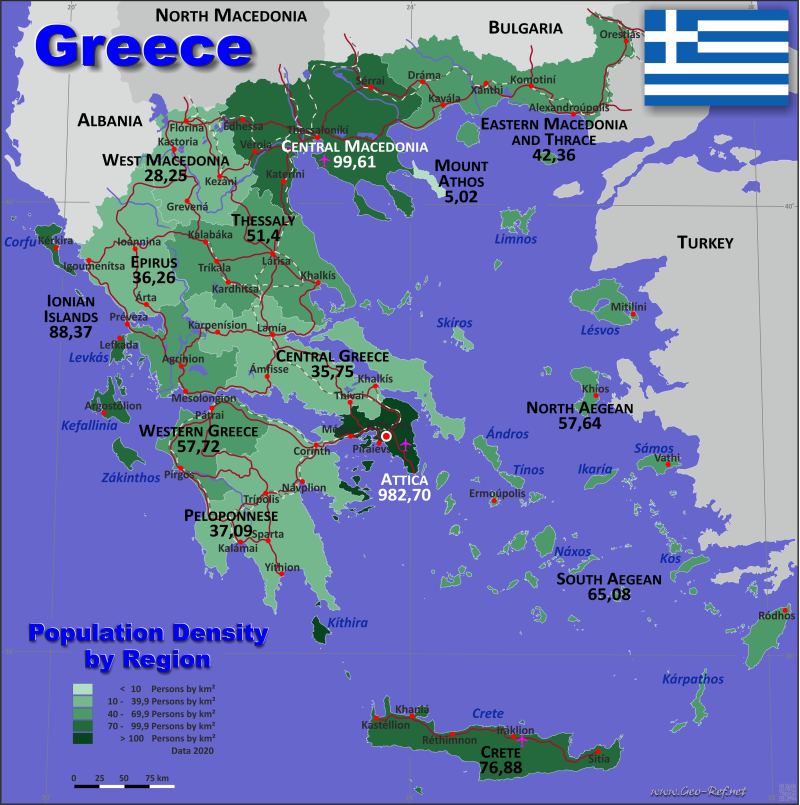 Map Greece - Administrative division - Population density 2019