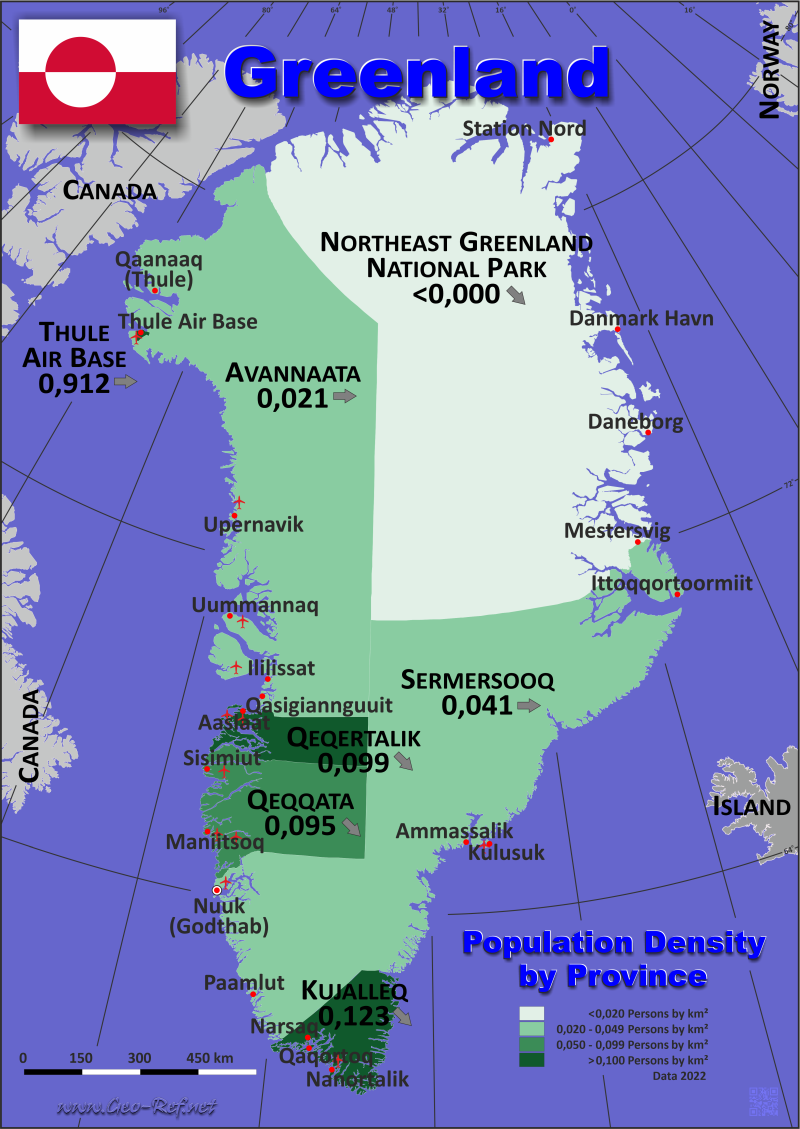 Greenland Country data links and maps of the population density by