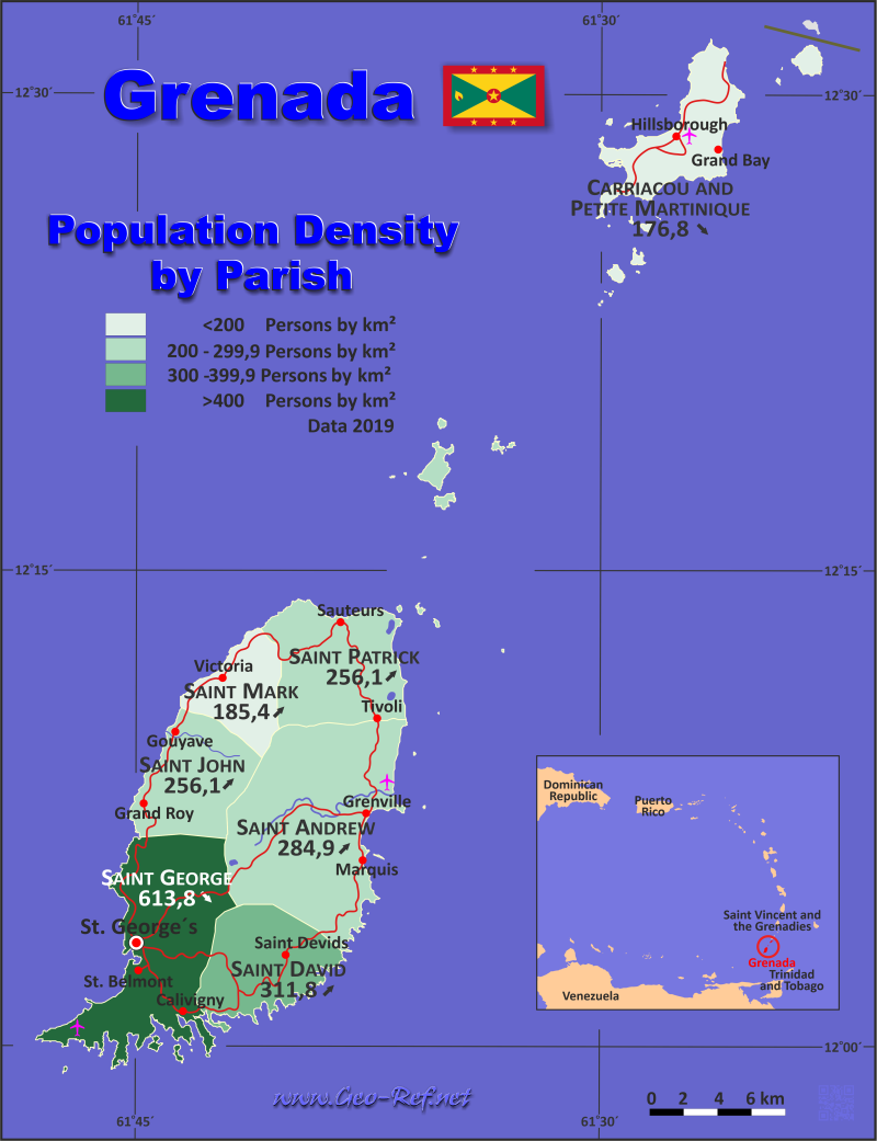 Grenada Country data links and maps of the population density by