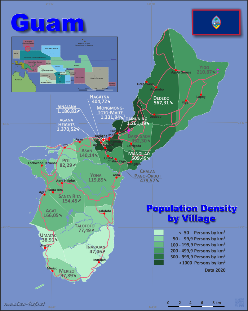 Map Guam - Administrative division - Population density 2020