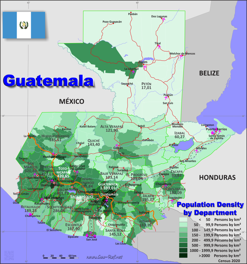 Guatemala Country data links and maps of the population density by