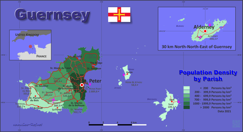 Map Guernsey - Administrative division - Population density 2019