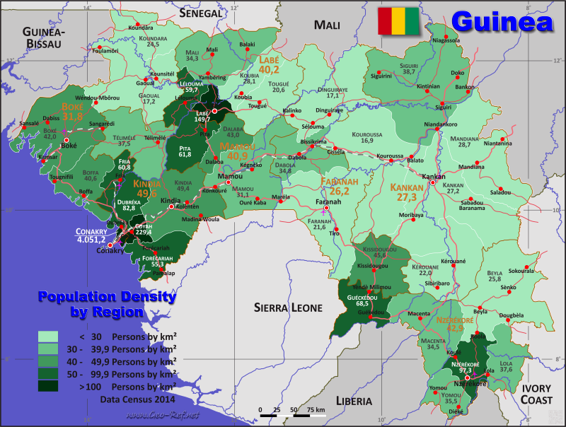Map Guinea - Population density