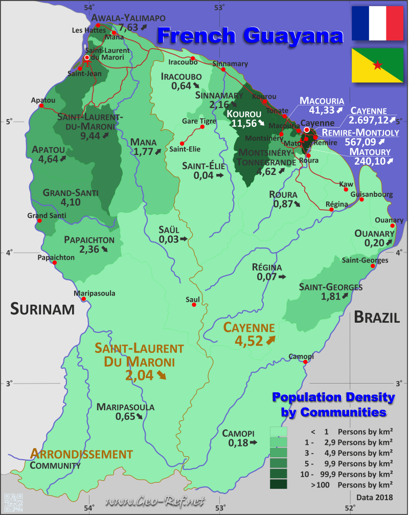 Map French Guiana - Administrative division - Population density 2017