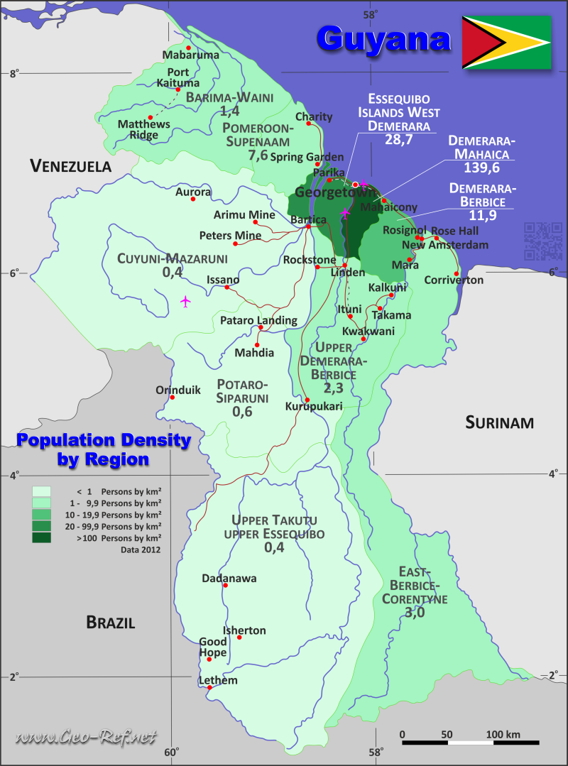 Map Guyana - Administrative division - Population density 2016