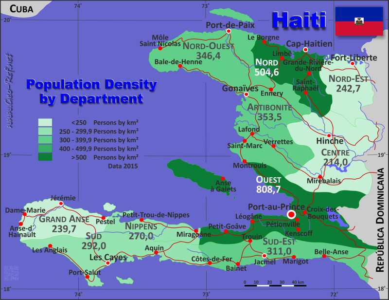 Haiti Country data links and maps of the population density by