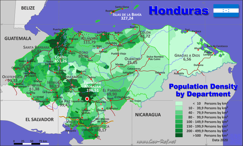 Map Honduras - Administrative division - Population density 2020