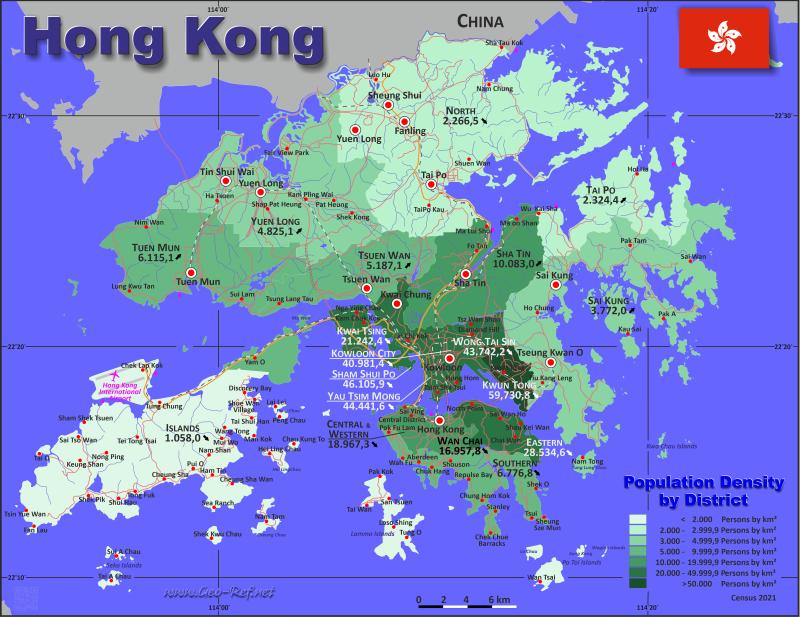 Karte China Hong Kong.Hong Kong Karte Bevölkerungsdichte Und Verwaltungsgliederung