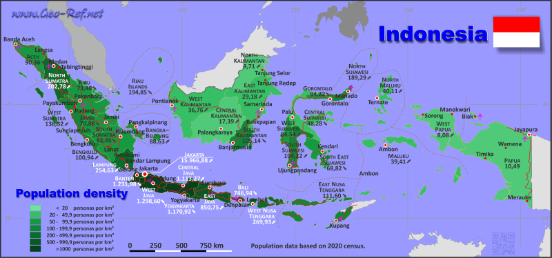 Map Indonesia - Population density