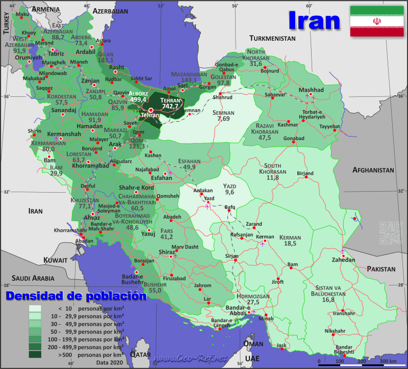 Map Iran - Administrative division - Population density 2019