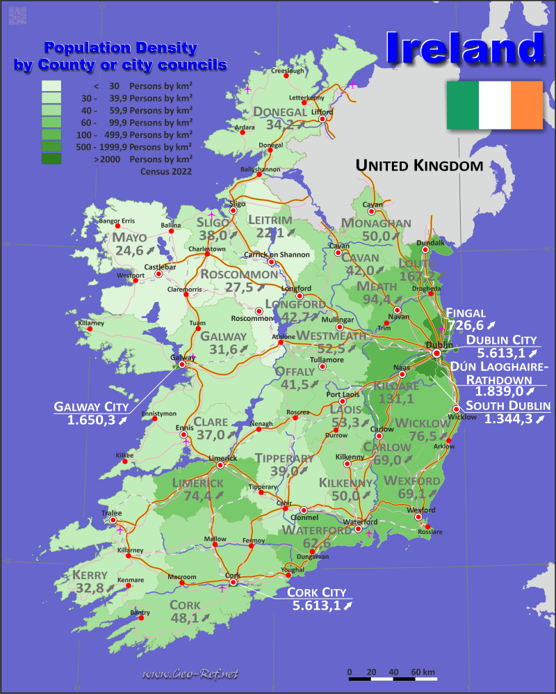 Map Ireland - Population density