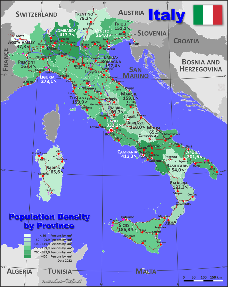 Map Italy - Administrative division - Population density 2020