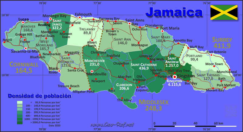 Jamaica Country data, links and map by administrative structure