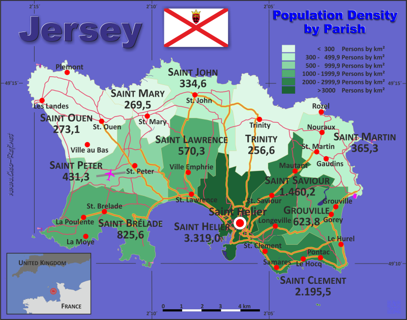 Map Jersey - Administrative division - Population density 2014