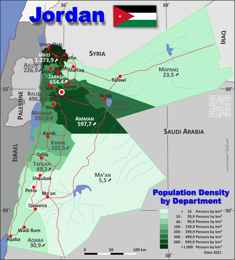 Map Jordan - Population density
