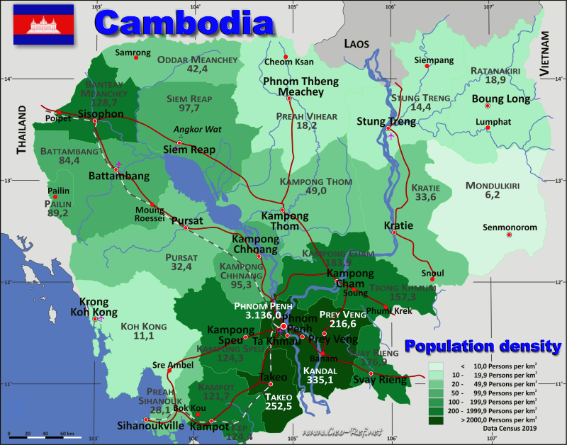 Cambodia Country data, links and map by administrative structure