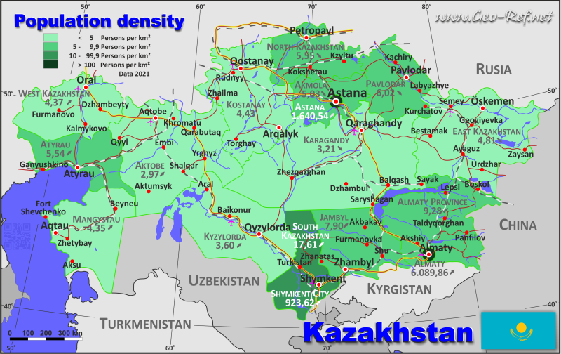 Kazakhstan Country data links and maps of the population density by