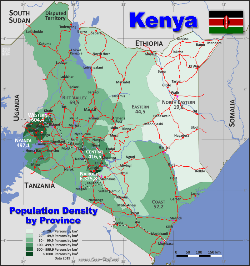 Map Kenya - Administrative division - Population density 2019