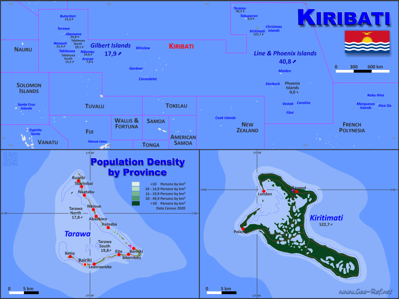 Kiribati Country data links and maps of the population density by