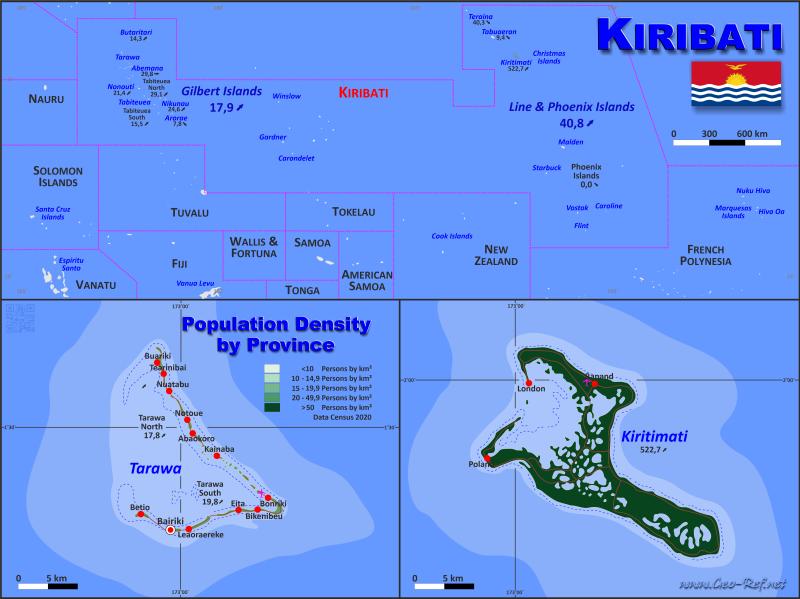 Kiribati Country Data Links And Maps Of The Population Density By - Kiribati map
