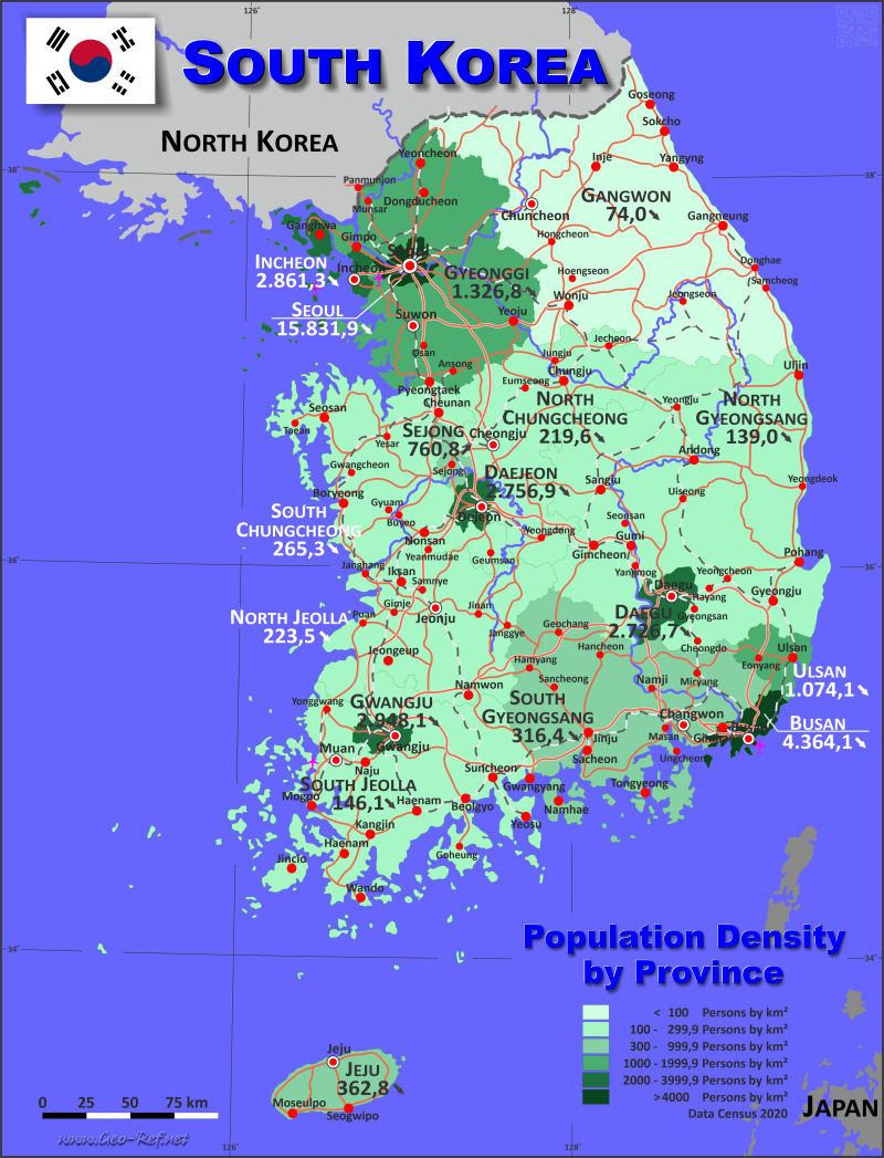 Map Korea South - Administrative division - Population density 2020