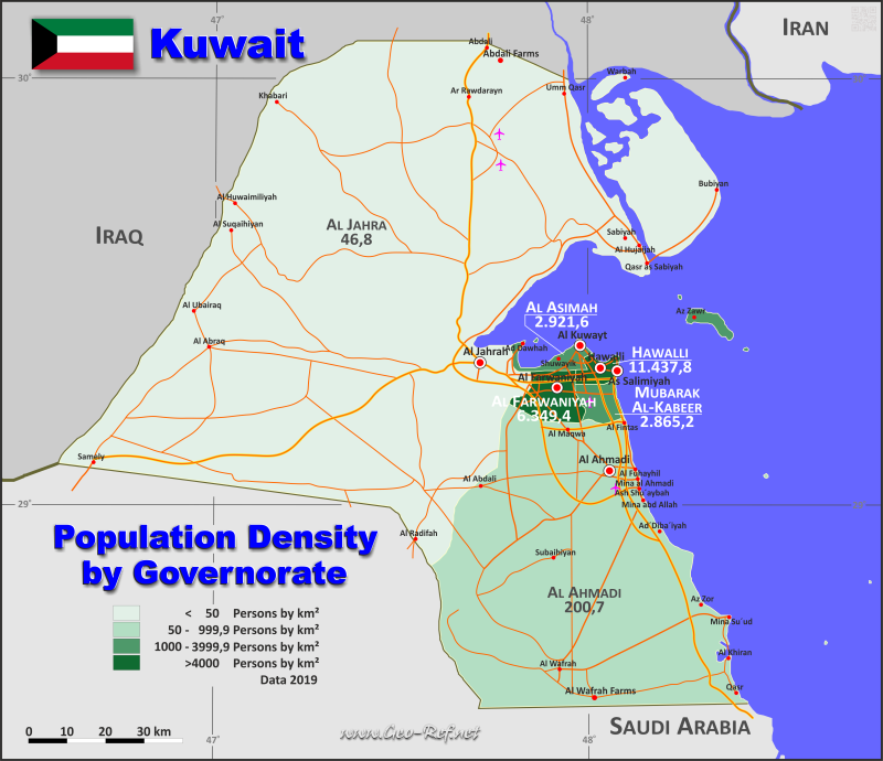 Map Kuwait - Administrative division - Population density 2019