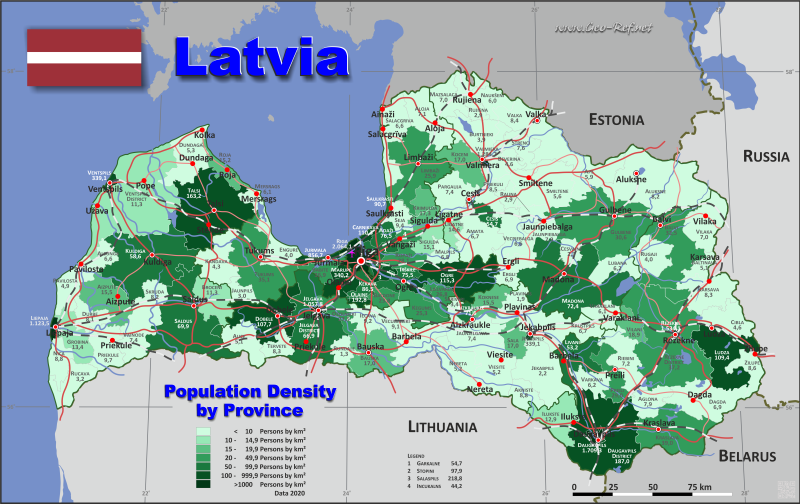 Latvia country data links and maps of the population density by map latvia population density gumiabroncs Images