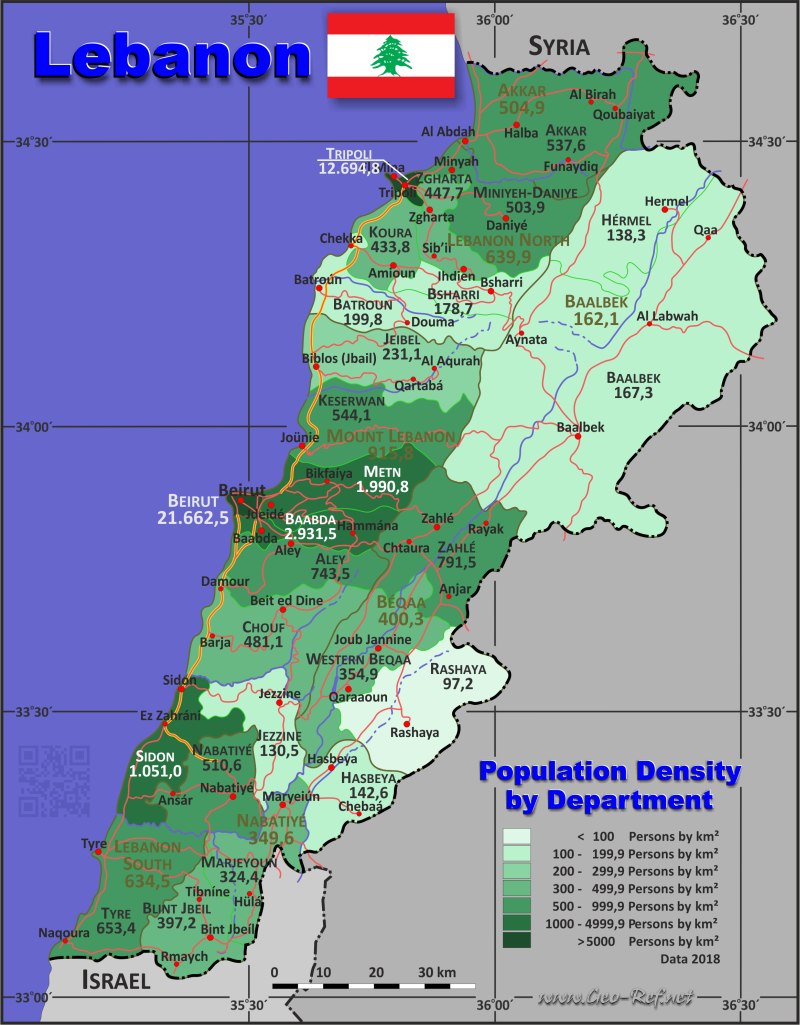 Map Lebanon - Population density