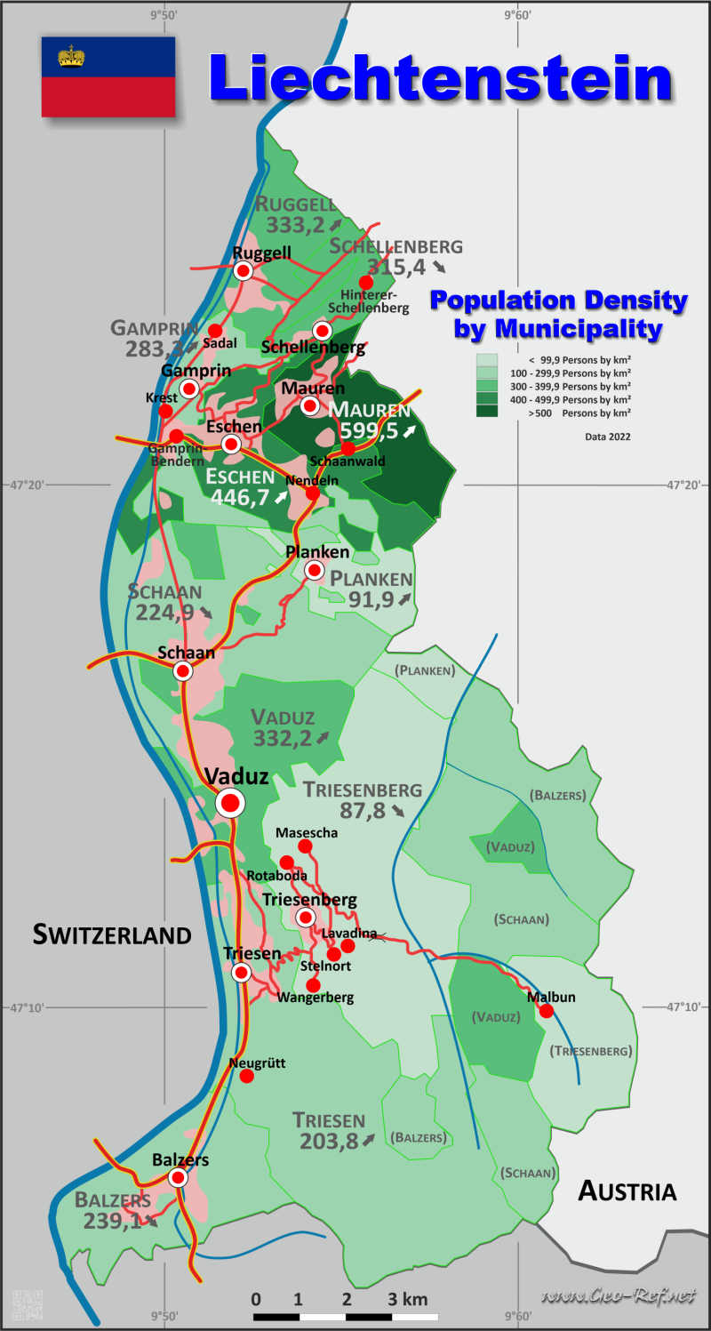 Liechtenstein Country data links and maps of the population density