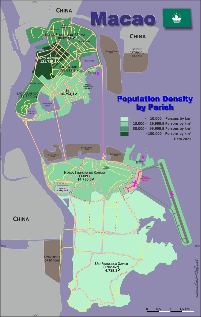 Map Macao SAR - Population density