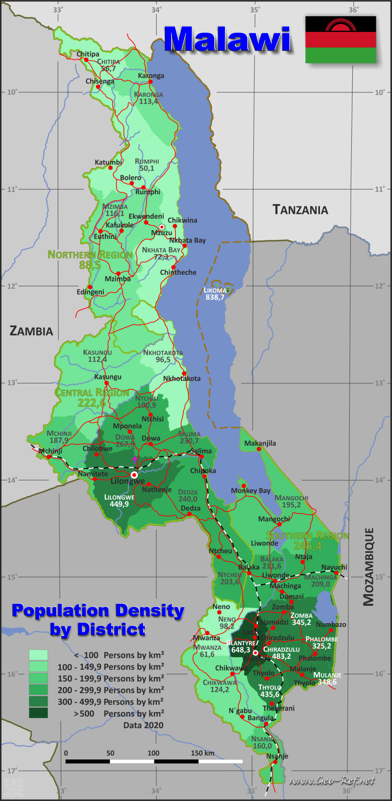 Map Malawi - Administrative division - Population density 2018