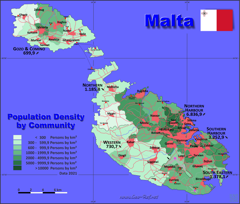 Map Malta Popultion density by administrative division