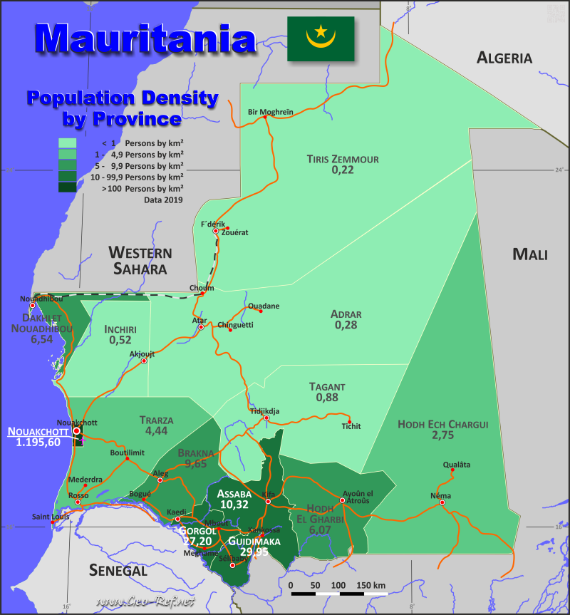 Map Mauritania Popultion density by administrative division