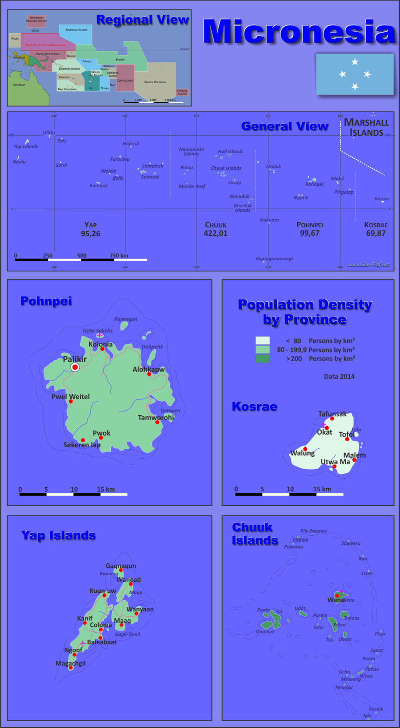 Map Micronesia - Administrative division - Population density 2014