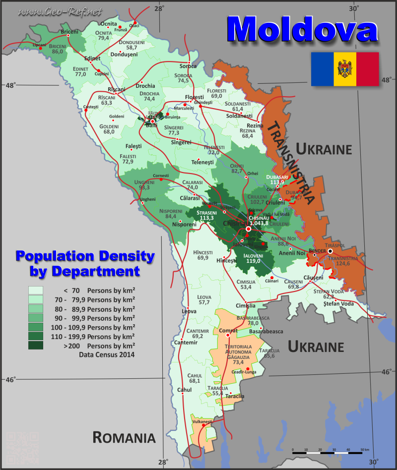 Map Moldova - Administrative division - Population density 2014