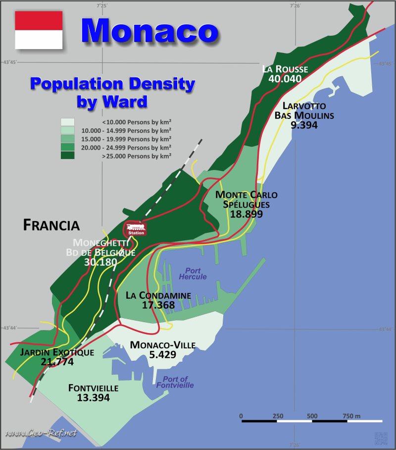 Monaco Country data links and maps of the population density by