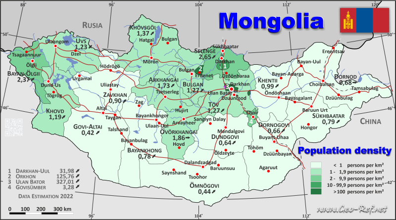 Map Mongolia - Administrative division - Population density 2019