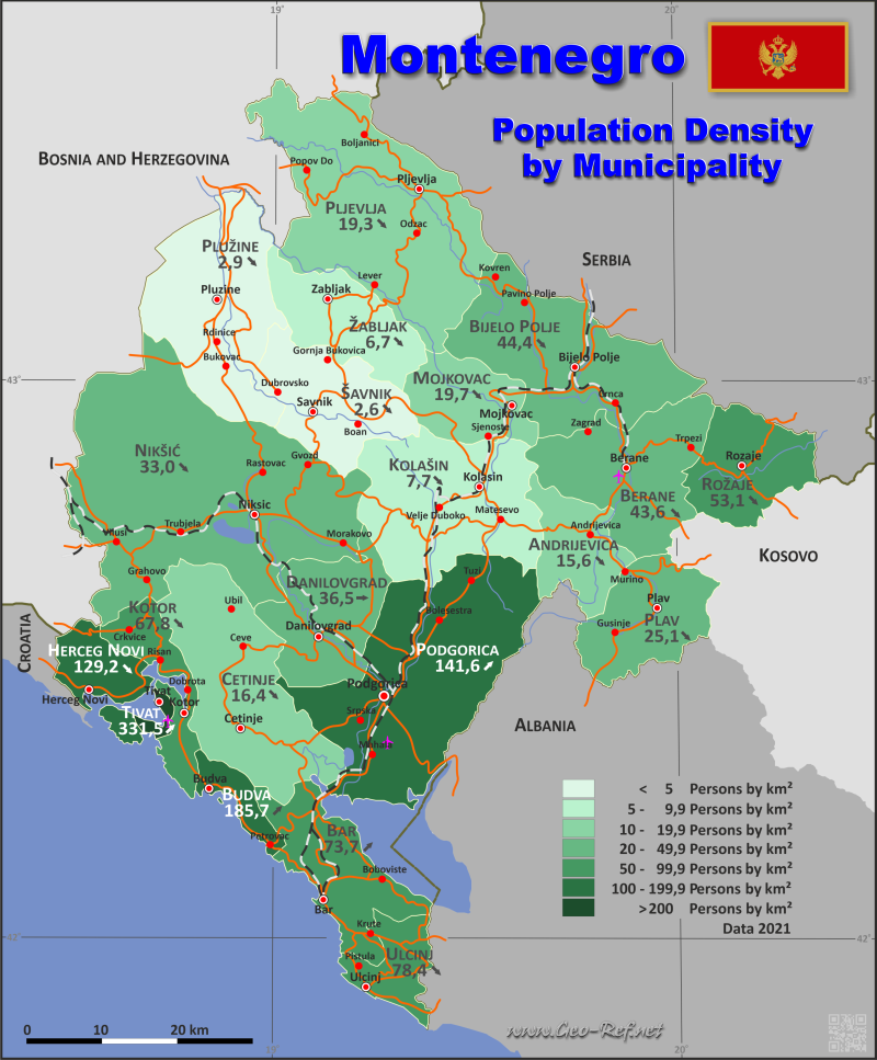 Map Montenegro - Population density