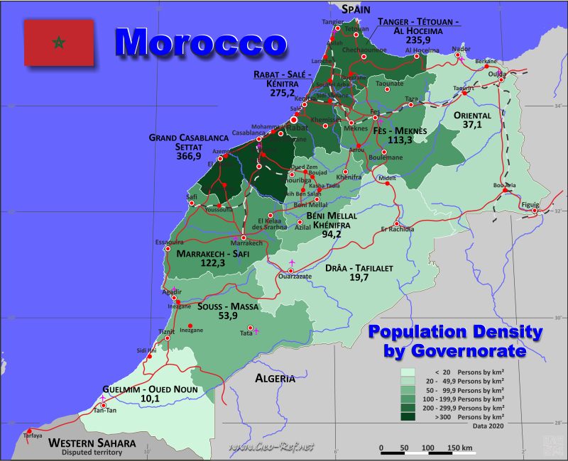 Map Morocco - Administrative division - Population density 2020