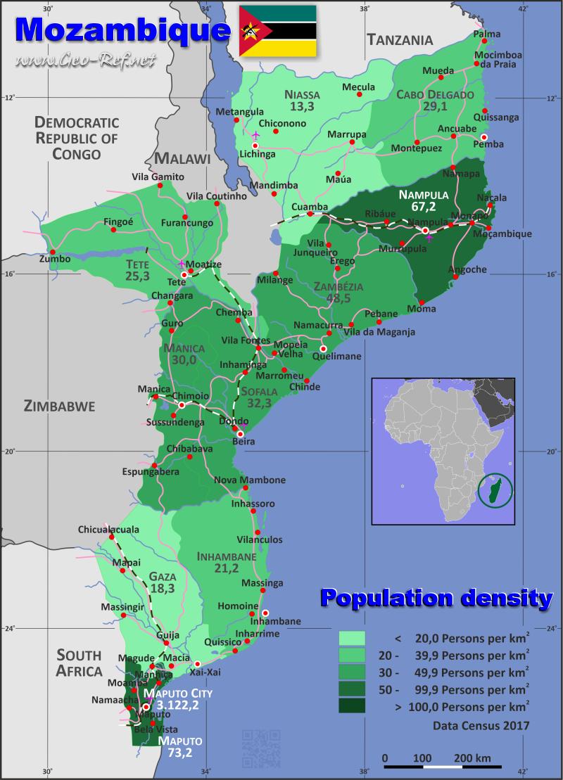 Mosambik Karte.Mosambik Karte Bevölkerungsdichte Und Verwaltungsgliederung