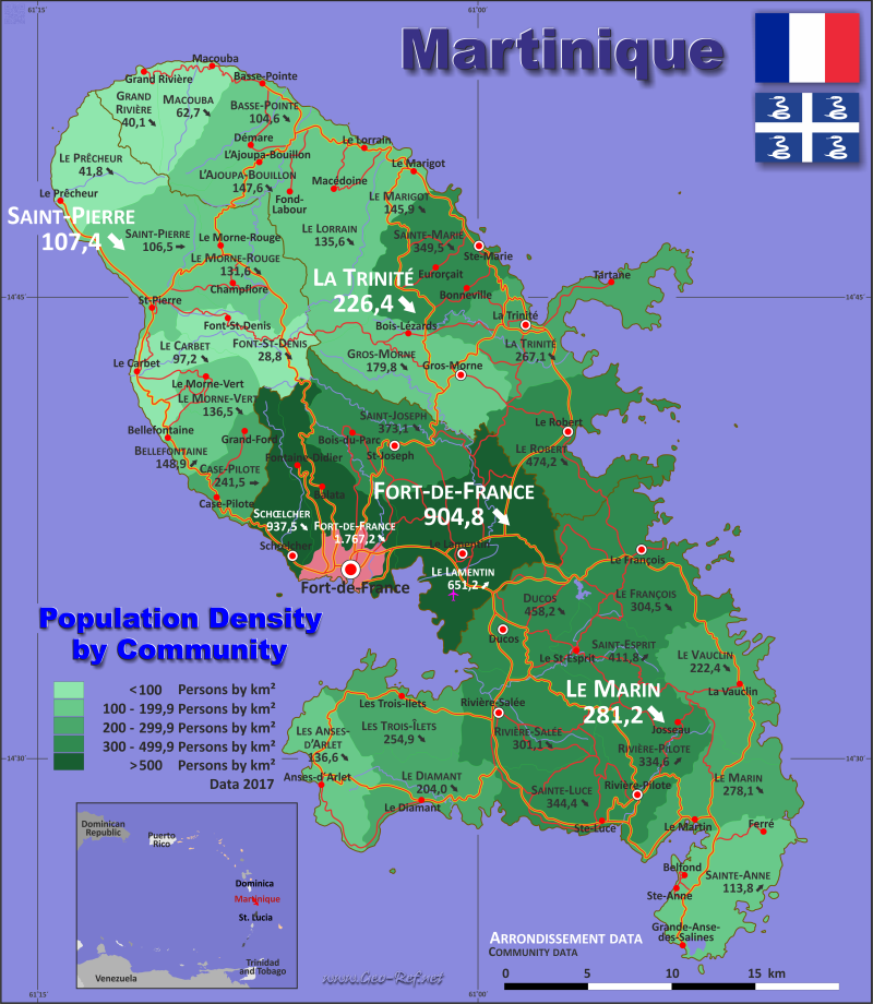 Map Martinique - Administrative division - Population density 2018