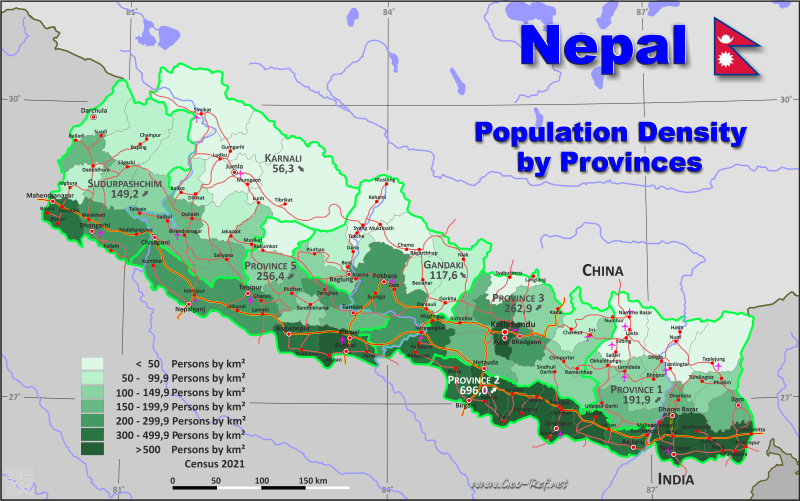 Map Nepal - Population density